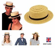 ADULT STRAW BOATER HAT Fancy Dress Summer St Trinian Easter Bonnet Costume Party