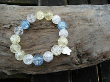 Beach Inspired  Stretchy Bracelet, Blue, Yellow & White Crackle Quartz