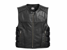 Harley Davidson Men SWAT S.W.A.T. 2 II Black Leather Vest Military 98066-13VM XL
