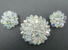 Vintage Brilliant AB Crystal Bead Brooch Pin & Clip On Earring Set