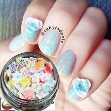 15Pcs/Box Flower Mixed Color Size Nail Studs 3D Nail Art Decoration For UV Gel