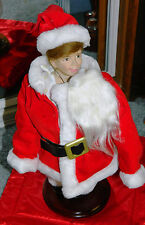 1990 NORMAN ROCKWELL Scotty Plays Santa Christmas Porcelain Doll on Wood Stand