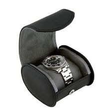 Heiden Single Traveler Watch Case - Black Leather - Oval