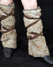 Medieval-LARP-Dark Age-VIKING-Celt-BROWN Fake fur leggings 1 SIZE