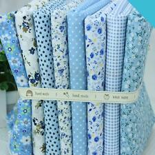 8x Cotton Fabric Patchwork Square Bundle Blue Mix Floral Girl Quilting DIY Craft
