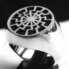 Black Sun Mandala Ancient Pagan Mystic Symbol Huge Sterling Silver Men's Ring
