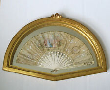 ANTIQUE LOUIS HAND PAINTED FRENCH SILK FAN IN GILDED FRAME