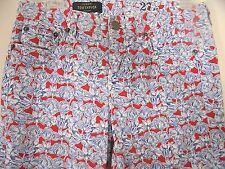 J. Crew Toothpick Pants Size 27 Ankle Liberty Art Fabric Blue Red Floral