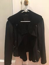 New All Saints Leather Sheepskin Fur Trim Jacket $1000