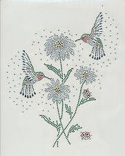 Rhinestone iron on transfer DIY Hot fix applique Hummingbird daisy flower