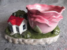 LITTLE GLASS HOUSE WITH YARD AND ROSE COFFEE TEA CUP MUG COLLECTIONS ETC