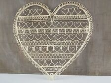Heart Shape Jewellery Wall Hanger Holder Cream Metal Necklaces Bracelet Earrings