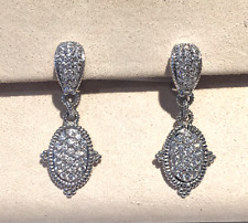 "Judith Ripka ""Arielle"" Diamond Drop Earrings in 18K White Gold"
