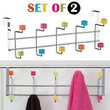 Set De 2 En Colgador para puerta / 10 Gancho Multicolor Plástico Cubos Ropa Sombreros Rack