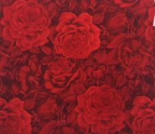 Kaufman Fusions 8016 Roses RED Fabric Quilt Cotton BTY Floral Blender FLOWER OOP