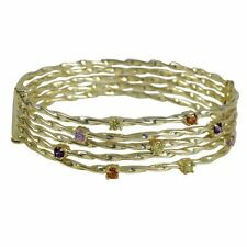 Five Row Gold Plated High Polish Twisted Bangle Bracelet with Multi Color CZ