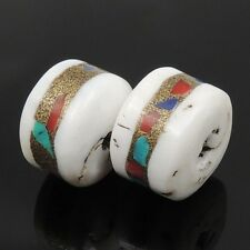 2Pcs Nepalese Handmade Conch Shell Lapis Turquoise Coral Tibetan Charm/Spacer