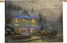 Victorian Christmas IV Fiber Optic Tapestry Wall Hanging ~ Thomas Kinkade
