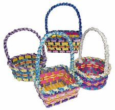 "Springtime Easter Small Bamboo Fringe Basket 12"" Tall Assorted #349291"