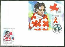 TOGO 2013 BATTLE OF AIDS RED CROSS SOUVENIR SHEET FIRST DAY COVER
