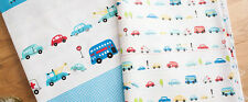 2 Blue 45x50cm Sewing and Quilting Fabrics Patchwork 100% Cotton Car Design
