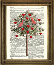 VINTAGE DICTIONARY BOOK PAGE PRINT: Love Heart Tree With Pink Birds Romantic Art