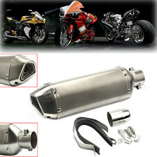 Universal 38-51mm Motorcycle Chrome Fiber Exhaust Muffler w/ Silencer Dirt Bike