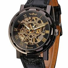 Men's Black Skeleton Dial Hand-Wind Up Leather Mechanical Wrist Watch