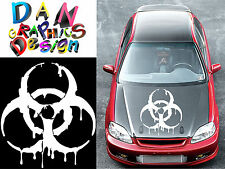 "26"" biohazard decal vinyl sticker wall car hood door bumper spill drip zombies"