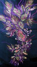 Gorgeous Peacock Feather Eye motif Sequin Fabric (Black) BB 519 One Pattern