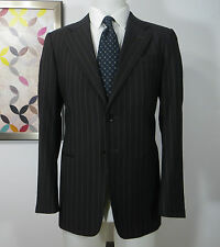 Armani Collezioni Italy Wool brown grey striped men's suit Flat Front 38 S