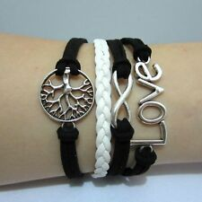 Infinity love tree of life Antique Silver Friendship Leather Charm Bracelet-L041