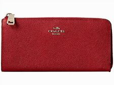NWOT COACH 52333 RED CURRANT TEXTURED LEATHER SLIM WALLET