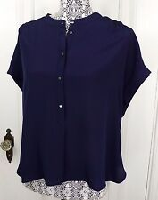 NWT J. CREW CROPPED SILK POPOVER BLOUSE / SHIRT SIZE M NAVY BLUE