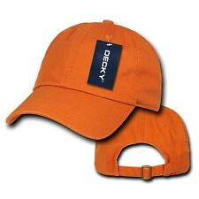 Orange Plain Solid Blank Washed Cotton Polo Brass Buckle Decky Baseball Cap Hat