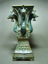 ANTIQUE CHINESE BLUE GLAZE RITUAL 'ZUN' POTTERY WINE VESSEL, WESTERN JIN DYNASTY