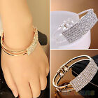 Womens Ladies Bling Crystal Cuff Bracelet Elegant Wristband Hand Chain Bangle