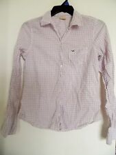 HOLLISTER Pink White Blue  Plaid Button Up Women's Shirt  - Sz L