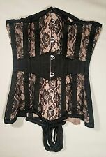 """Morticia""  Black & Pink Floral Satin WHAT KATIE DID 18"" Under Bust Waist Corset"
