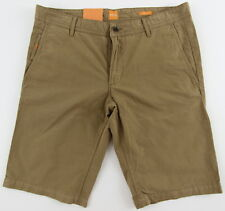 Men's HUGO BOSS ORANGE Dark Khaki Tan Twill Cotton Shorts 36 NWT NEW Schino