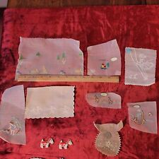 Collection Of Vintage Swiss Hand Loomed Children's Embroideries,Collar~Dolls,Dog