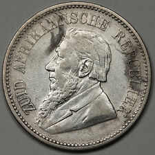 South Africa 1895 2 1/2 2.5 Shillings Silver Coin KM# 7 VF Very Fine