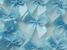 100! Pretty Polka Dot Bows - Lovely Pale Blue Bow Embellishments For Cardmaking!