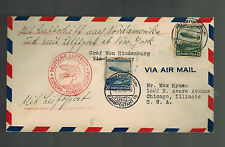 1936 Frankfurt Germany LZ 129 Hindenburg Zeppelin first flight cover to USA FFC