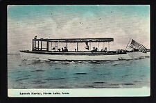 Storm Lake Iowa IA 1914 Tour Boat Launch HARLEY touring with Passengers, Speed!