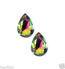 "1"" Drop Oval Vitrail Glass Clip-On Earrings, Pageant, Bridal, Drag Queen"
