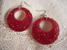 Vintage Pierced HOOP Round Earrings RED GLITTER confetti LUCITE Plastic RETRO