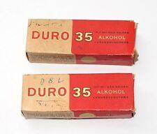 2x Karton DURO 35 - Luxus Zahncreme mit Alkohol, ca. 1958, Dr. Scheller B387