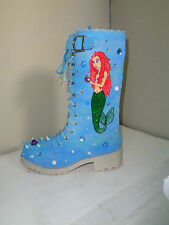 CHELISE LITTLE MERMAID ARIEL PEARL STUD SPIKE BLUE KITSCH KAWAII BIKER BOOT 5 38