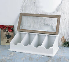 VINTAGE CUTLERY BOX SHABBY WHITE COUNTRY HOUSE STYLE CUTLERY
